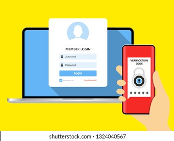 Two step authentication vector illustration, flat cartoon smartphone and computer safety login or signin, two steps verification via mobile phone and pc