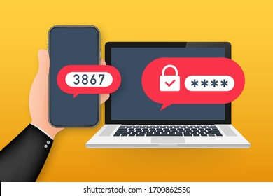 Two step authentication vector illustration, flat cartoon smartphone and computer safety login or signin. Vector stock illustration.