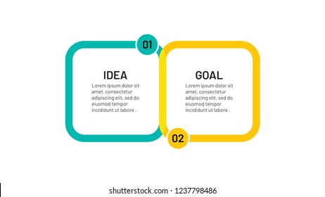 Two step infographic and number options template with circle. Vector illustration. Can be used for business process number options, banner, web design, presentation.