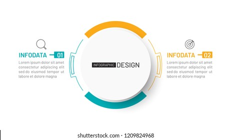 Two step infographic process chart with marketing icons. Vector illustration. Can be used for diagram, report, presentation, web design.