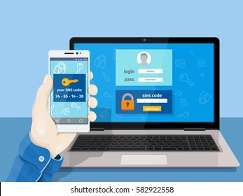 Two steps authentication on computer. Flat man sitting at desktop and getting access to the website. A man is sitting at a laptop with a mobile phone in his hand. Vector illustration