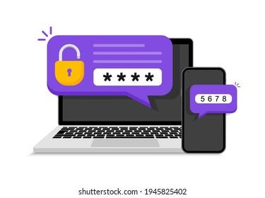 Zweistufige Authentifizierung. Verifizierungscode-Nachricht auf Smartphone. Beachten Sie den Code für die sichere Anmeldung oder Anmeldung. Zweifaktorüberprüfung über Laptop und Telefon. Vektorgrafik.