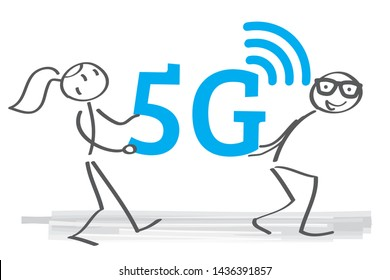 Two stick figures carry 5g symbol. Vector illustration concept
