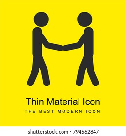 Two stick man variants shaking hands bright yellow material minimal icon or logo design