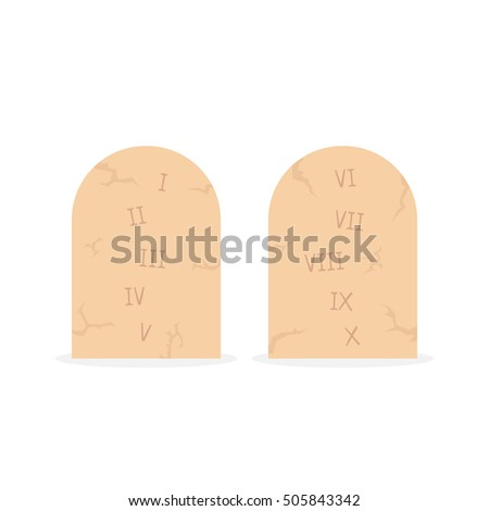 Two Stone Tablets With Ten Commandments. Concept Of Inscribed Instructions,  Belief, Moral,