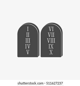 Two stone with ten commandments icon isolated on grey background.