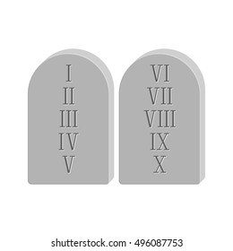 Two stone with the ten commandments isolated on white background in flat style.