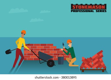Two stonemasons at work in working environment. EPS-10 high quality flat style vector