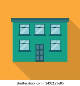 Two storey building,house,real estate flat style icon long shadow. Vector illustration