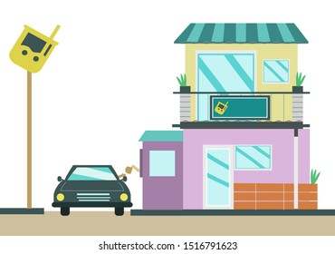 A two storey restaurant chain building with a drive through service. Editable Clip Art.