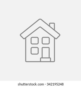 Two story detached house line icon for web, mobile and infographics. Vector dark grey icon isolated on light grey background.