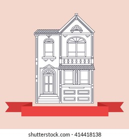 Two story victorian style house. Simple vector illustration
