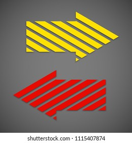 Two straight arrow ribbon. 2 direction right banner shape. Trend arrow stripe form flat icon. Index location. Pointer position. Marker standing. Indicator destination. Origami pointers design shape set