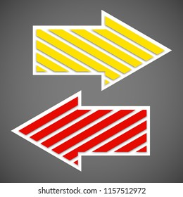 Two straight arrow ribbon. 2 direction right banner shape. Trend arrow stripe form flat icon. Index location. Pointer position. Marker standing. Indicator destination. Origami pointrs design shape set