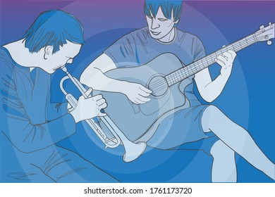 Two street musicians playing the guitar and trumpet