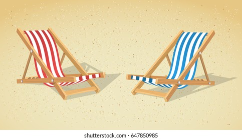Two striped chaise-lounges on the sand background. Vector illustration.
