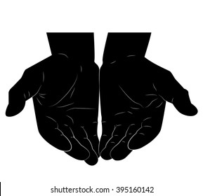 Two strong black empty male hands together. Man fistful. Sketch male hands. Black color.