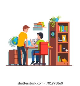 Two student friends studying doing homework together at home kid room. Teen boy sitting at desk, reading book. University dormitory with wooden table, bookcase & chair. Flat style vector illustration.