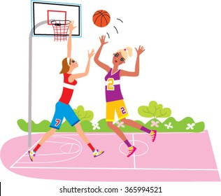 Two student girls playing basketball.  Vector illustration