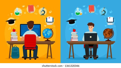 Two Student sitting at desk front and back view in online learning process. School homework. Surfing internet. Concepts of education and e-learning. Vector illustration. Flat design.