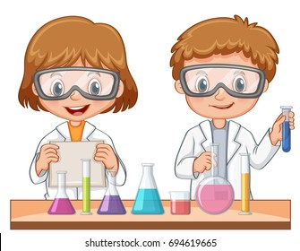 Two Students Do Science Experiment Illustration Stock Vector ...