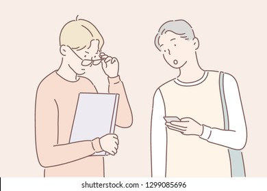 Two students are walking in conversation with each other. hand drawn style vector design illustrations.
