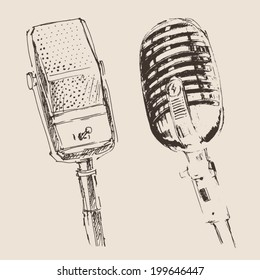 two studio microphone vintage illustration, engraved retro style, hand drawn, sketch