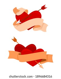 Two Style of Ribbon and Heart is Stabbing by Arrow for the Valentine Decoration.