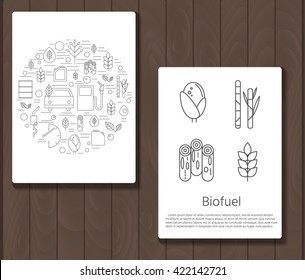 Two stylish modern banner on wooden background. Vector icons environment, biofuel and care for nature in a linear style . Flyers with raw material for the production of fuel and refueling of the car