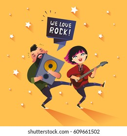 Two stylish rock musicians with We Love Rock ribbon, cute guitar girl and boy with loudspeaker. Good for concert or party poster, flyer etc. Vector colorful illustration in flat style