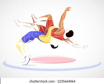 two stylized athlete sport vector wrestling set