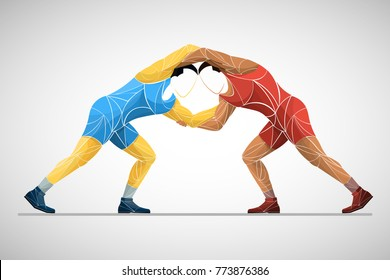 two stylized athlete sport vector wrestling