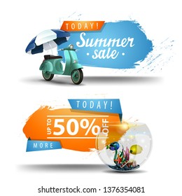 Two summer sale clickable banners with scooter with a beach umbrella and round aquarium with fish