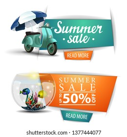 Two summer sale clickable banners with buttons, a scooter with a beach umbrella and round aquarium with fish