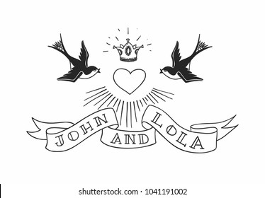 Two swallow birds with heart and crown in tattoo style. Vintage american rebel wedding design. Vector illustration.