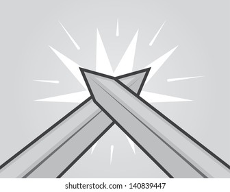Two swords hitting with gray background