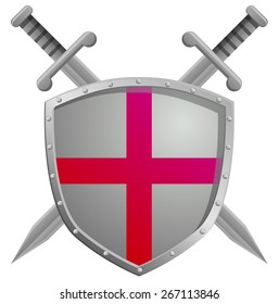 Two swords and a shield with cross