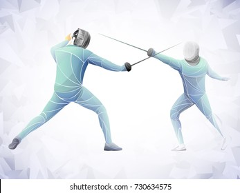 two swordsman, stylized fencing sport