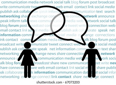 Two symbol people share social network words in media speech bubbles on a text background