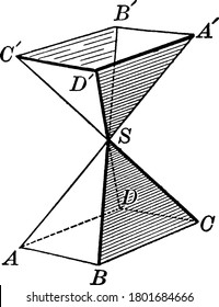 Two symmetrical Polyhedral Angles formed by three planes whose intersections meet in a vertex S, vintage line drawing or engraving illustration.