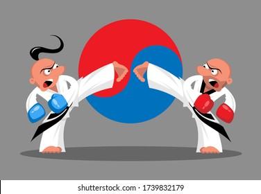 Two taekwondo fighters on the  Korean flag background