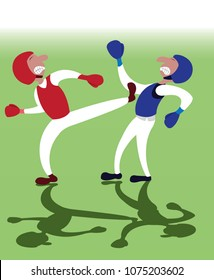 two taekwondo martial artists fighting one another