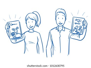 Two teachers, parents or kindergarten nurses holding and showing a childrens book. Concept for reading for children. Hand drawn blue outline line art cartoon vector illustration.