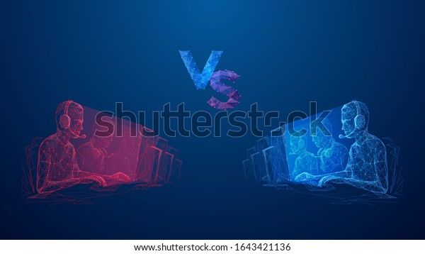 Two team of cyber sport. Abstract banner template for eSport competition. Red tram VS blue team. Versus cyber sports. Low poly wireframe digital concept. Technology innovation vector illustration.