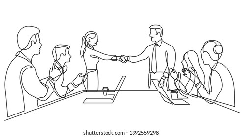 two team members shaking hands in front of work team - single line drawing