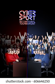 Two teams of five players sitting at the table opposite each other with a crowd of cheering fans on the background. Side view. Vector participants of cyber sport tournament