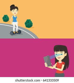 Two technology banners with space for text. Vector flat design. Horizontal layout. Asian woman using smart mobile phone with retina scanner. Young woman using iris scanner to unlock her mobile phone.