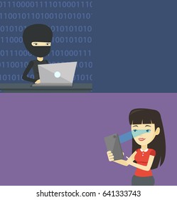 Two technology banners with space for text. Vector flat design. Horizontal layout. Hacker working on laptop on the background of binary code. Hacker using laptop to steal personal identity information