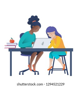 Two teenage girls working on laptop, coding, learning computer science, vector illustration isolated on white background. Two girls doing computer science homework, learning to code on laptop