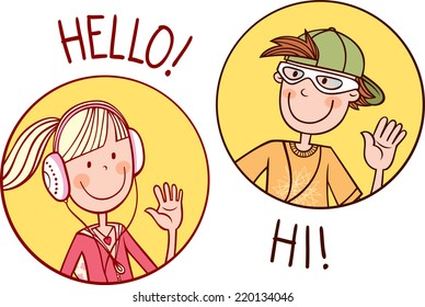 Two teenagers boy and girl greet each other. Vector illustration.